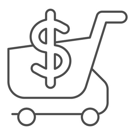 Shopping cart with dollar thin line icon. Market cart and money symbol vector illustration isolated on white. Shopping trolley outline style design, designed for web and app. Eps 10.