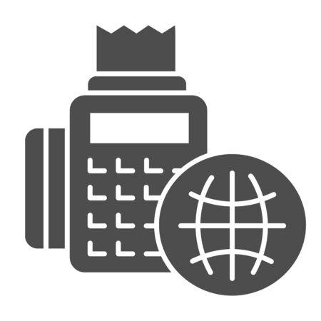 Cash register and globe solid icon. Cash machine and planet vector illustration isolated on white. Global service payment glyph style design, designed for web and app. Eps 10.