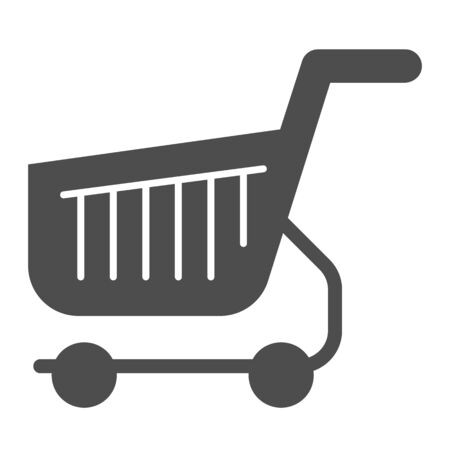 Shopping cart solid icon. Shop basket vector illustration isolated on white. Market trolley glyph style design, designed for web and app. Eps 10.