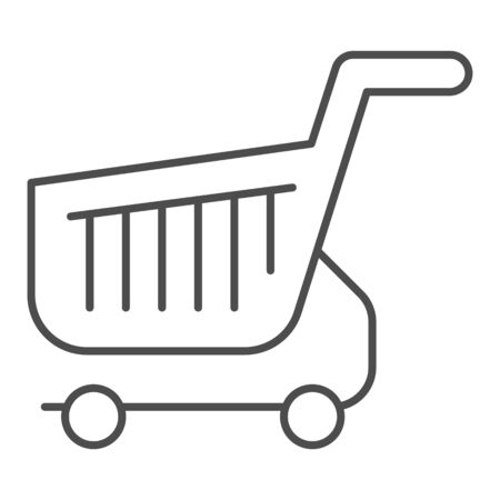 Shopping cart thin line icon. Shop basket vector illustration isolated on white. Market trolley outline style design, designed for web and app. Eps 10. Illustration