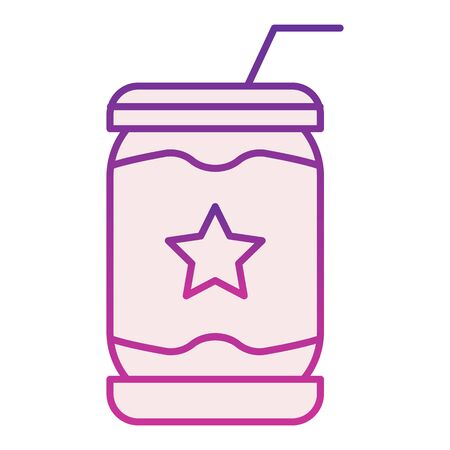 Lemonade can flat icon. Soda violet icons in trendy flat style.Drink in tin gradient style design, designed for web and app. Eps 10.