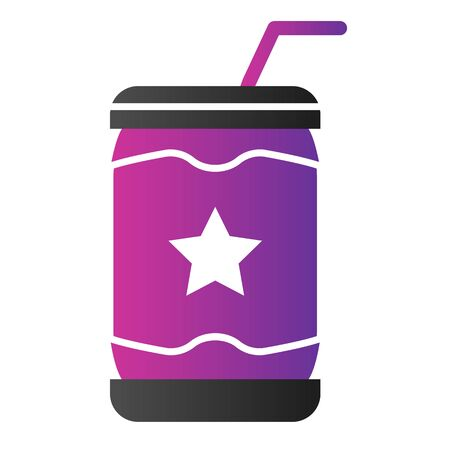 Lemonade can flat icon. Soda color icons in trendy flat style.Drink in tin gradient style design, designed for web and app. Eps 10. Ilustração