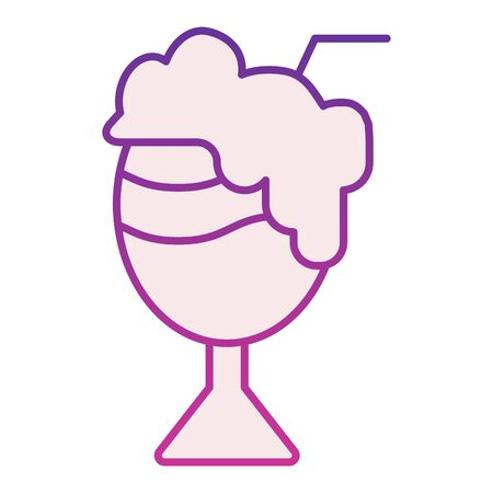 Cocktail with foam flat icon. Milk cocktail violet icons in trendy flat style. Sweet cocktail gradient style design, designed for web and app. Eps 10. Illustration