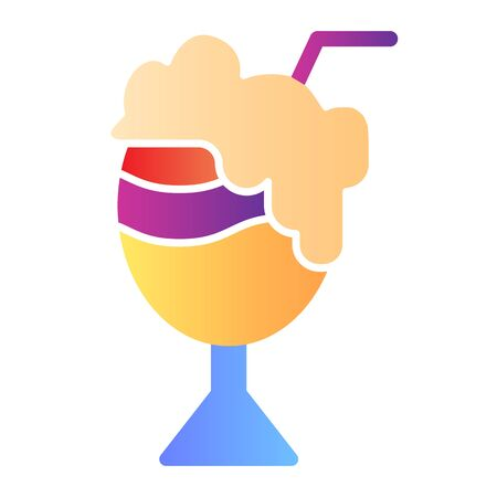 Cocktail with foam flat icon. Milk cocktail color icons in trendy flat style. Sweet cocktail gradient style design, designed for web and app. Eps 10. Illustration