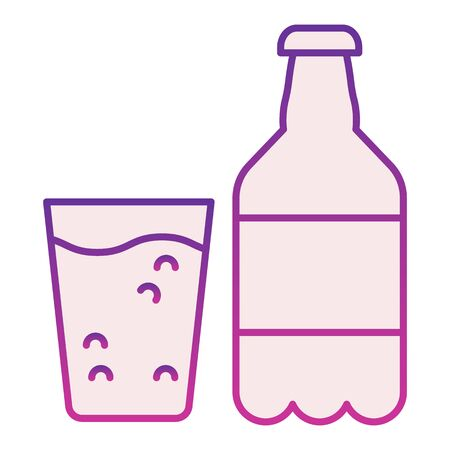 Sparkling water flat icon. Bottle of water and glass violet icons in trendy flat style. Water with bubbles gradient style design, designed for web and app. Eps 10.