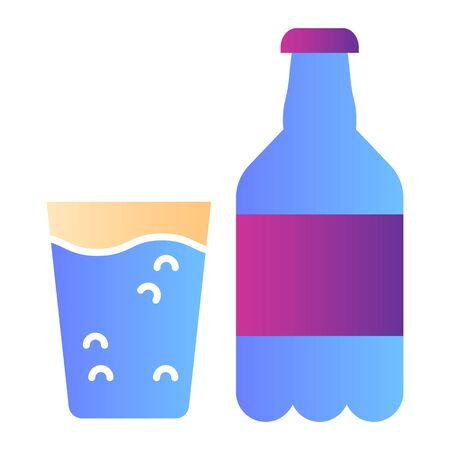 Sparkling water flat icon. Bottle of water and glass color icons in trendy flat style. Water with bubbles gradient style design, designed for web and app. Eps 10.