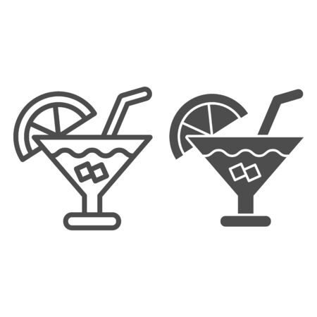Cocktail line and glyph icon. Party drink vector illustration isolated on white. Alcohol beverage outline style design, designed for web and app. Eps 10.