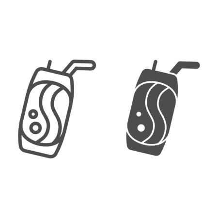 Soda can line and glyph icon. Lemonade vector illustration isolated on white. Beverage can outline style design, designed for web and app. Eps 10.
