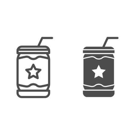 Lemonade can line and glyph icon. Soda vector illustration isolated on white. Drink in tin outline style design, designed for web and app. Eps 10. Ilustração