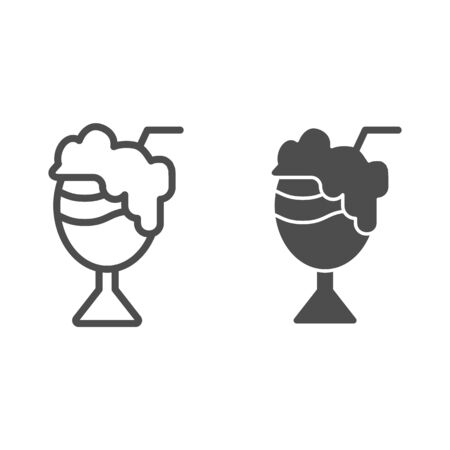 Cocktail with foam line and glyph icon. Milk cocktail vector illustration isolated on white. Sweet cocktail outline style design, designed for web and app. Eps 10. Illustration