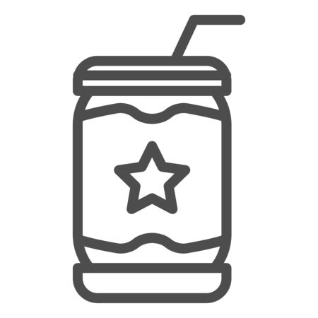 Lemonade can line icon. Soda vector illustration isolated on white. Drink in tin outline style design, designed for web and app. Eps 10.