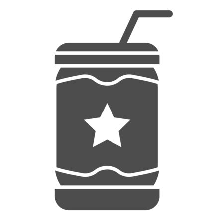 Lemonade can solid icon. Soda vector illustration isolated on white. Drink in tin glyph style design, designed for web and app. Eps 10.