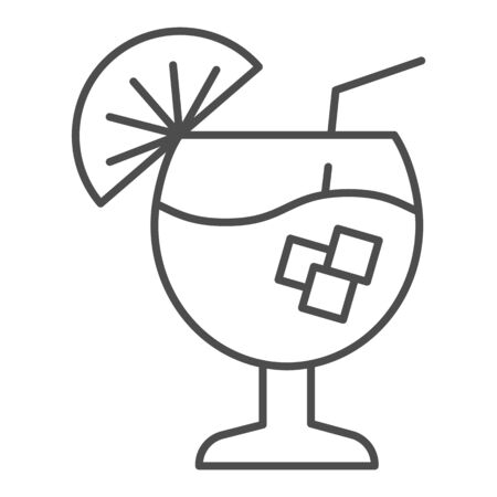 Cocktail thin line icon. Alcohol drink vector illustration isolated on white. Glass of beverage outline style design, designed for web and app. Eps 10. Иллюстрация