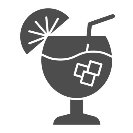 Cocktail solid icon. Alcohol drink vector illustration isolated on white. Glass of beverage glyph style design, designed for web and app. Eps 10.