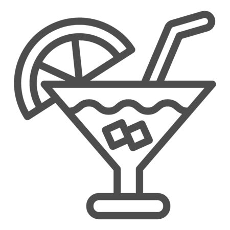 Cocktail line icon. Party drink vector illustration isolated on white. Alcohol beverage outline style design, designed for web and app. Eps 10. Иллюстрация