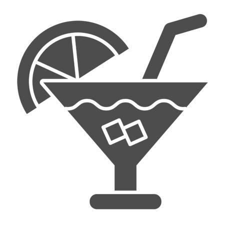 Cocktail solid icon. Party drink vector illustration isolated on white. Alcohol beverage glyph style design, designed for web and app. Eps 10.