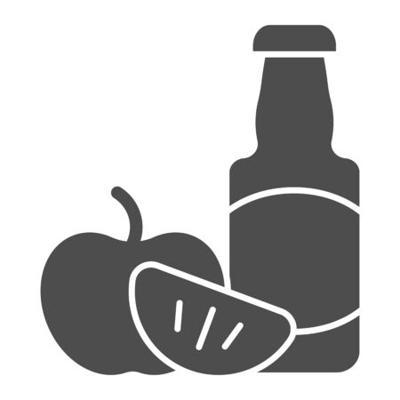 Apple cider solid icon. Cider bottle vector illustration isolated on white. Alcohol glyph style design, designed for web and app. Eps 10. 向量圖像