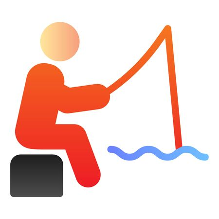 Fisheman flat icon. Fishing man on the river color icons in trendy flat style. Person with fishing rod gradient style design, designed for web and app. Eps 10.  イラスト・ベクター素材