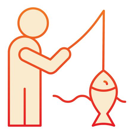 Fisheman and catch flat icon. Fishing on the river orange icons in trendy flat style. Man with fish gradient style design, designed for web and app. Eps 10.