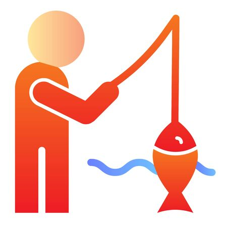 Fisheman and catch flat icon. Fishing on the river color icons in trendy flat style. Man with fish gradient style design, designed for web and app. Eps 10.  イラスト・ベクター素材
