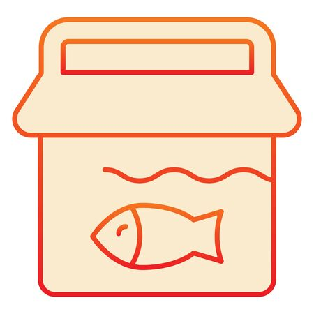 Fishing bucket flat icon. Bucket with fish orange icons in trendy flat style. Fisherman catch gradient style design, designed for web and app. Eps 10.