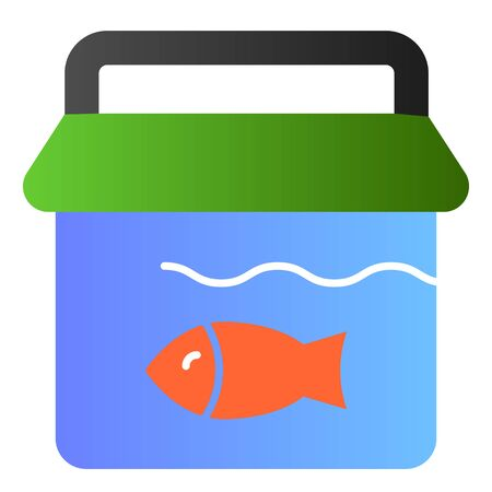 Fishing bucket flat icon. Bucket with fish color icons in trendy flat style. Fisherman catch gradient style design, designed for web and app. Eps 10.