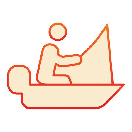 Fisher on vessel flat icon. Man cath fish on fishing rod orange icons in trendy flat style. Boat with fisherman gradient style design, designed for web and app. Eps 10.
