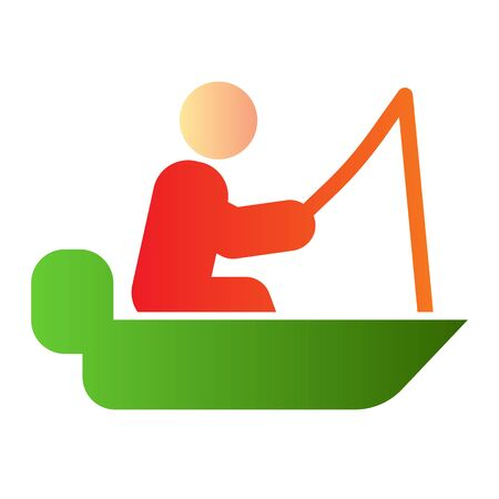 Fisher on vessel flat icon. Man cath fish on fishing rod color icons in trendy flat style. Boat with fisherman gradient style design, designed for web and app. Eps 10.