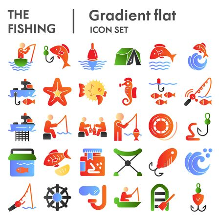 Fishing flat icon set, fisherman equipment symbols collection, vector sketches, logo illustrations, fishing hobby signs color gradient pictograms package isolated on white background, eps 10.
