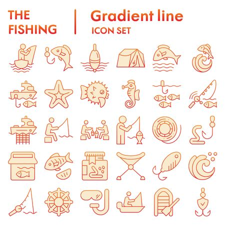 Fishing flat icon set, fisherman equipment symbols collection, vector sketches, logo illustrations, fishing hobby signs orange gradient pictograms package isolated on white background, eps 10.
