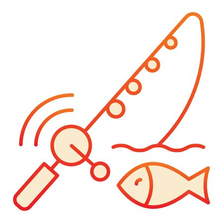 Spinning fish flat icon. Fish with bait orange icons in trendy flat style. Fish and fishing pole gradient style design, designed for web and app. Eps 10. Иллюстрация
