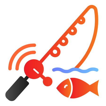 Spinning fish flat icon. Fish with bait color icons in trendy flat style. Fish and fishing pole gradient style design, designed for web and app. Eps 10. Иллюстрация