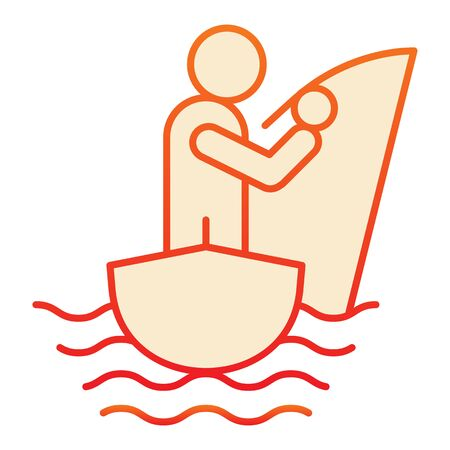 Man fishing flat icon. Fisherman on the boat orange icons in trendy flat style. Fisherman with fishing rod gradient style design, designed for web and app. Eps 10.
