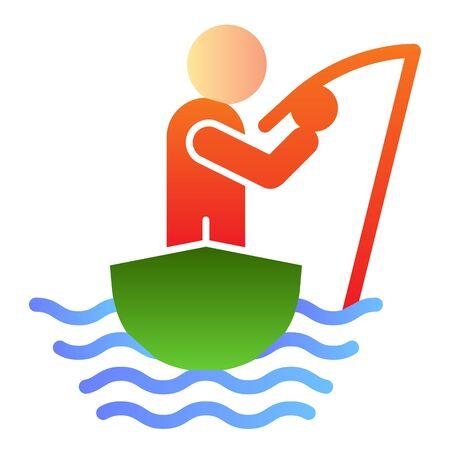 Man fishing flat icon. Fisherman on the boat color icons in trendy flat style. Fisherman with fishing rod gradient style design, designed for web and app. Eps 10.  イラスト・ベクター素材