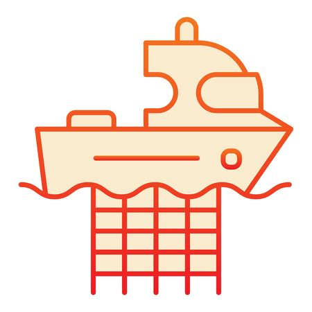 Fishing boat with nets flat icon. Commercial fishing vessel orange icons in trendy flat style. Fish catch gradient style design, designed for web and app. Eps 10. Illustration