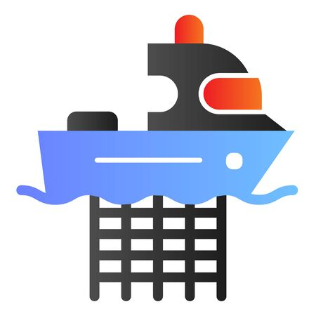 Fishing boat with nets flat icon. Commercial fishing vessel color icons in trendy flat style. Fish catch gradient style design, designed for web and app. Eps 10.