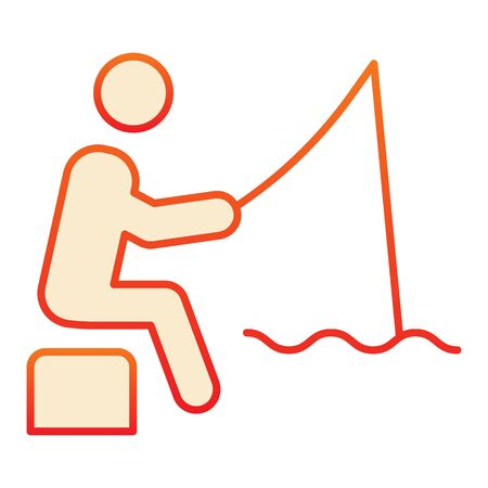 Fisheman flat icon. Fishing man on the river orange icons in trendy flat style. Person with fishing rod gradient style design, designed for web and app. Eps 10.