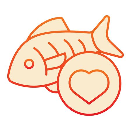 Love fishing flat icon. Fish and heart orange icons in trendy flat style. Love seafood gradient style design, designed for web and app. Eps 10.