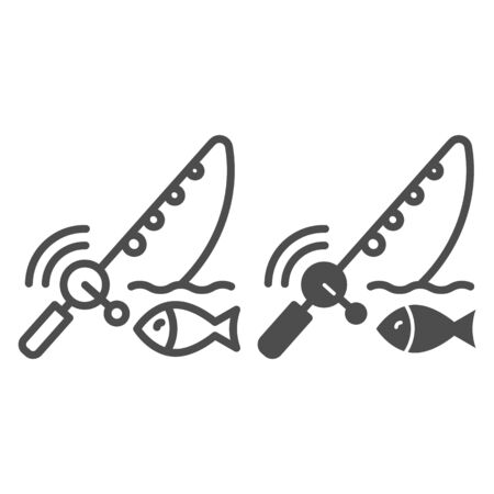 Spinning fish line and glyph icon. Fish with bait vector illustration isolated on white. Fish and fishing pole outline style design, designed for web and app. Eps 10.