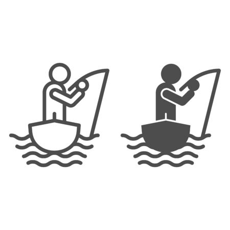 Fisherman on the boat line and glyph icon. Fisherman with fishing rod vector illustration isolated on white. Man fishing outline style design, designed for web and app. Eps 10.