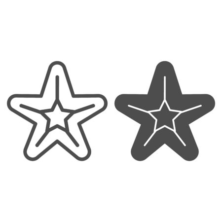 Starfish line and glyph icon. Sea star vector illustration isolated on white. Aquatic outline style design, designed for web and app. Eps 10.