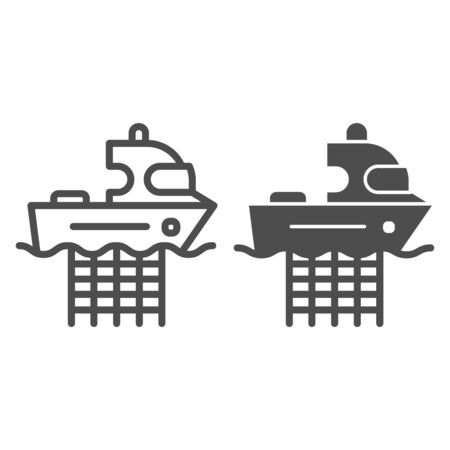 Fishing boat with nets line and glyph icon. Commercial fishing vessel vector illustration isolated on white. Fish catch outline style design, designed for web and app. Eps 10.