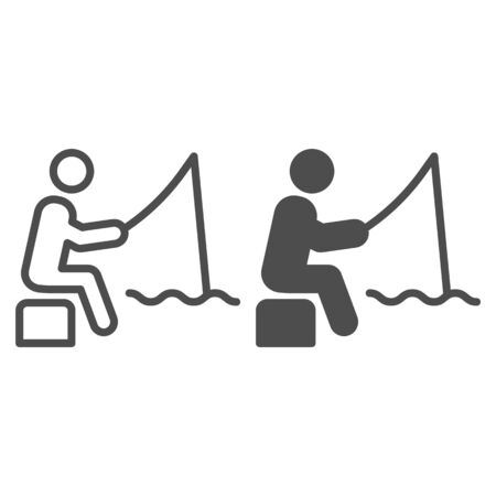 Fisheman line and glyph icon. Fishing man on the river vector illustration isolated on white. Person with fishing rod outline style design, designed for web and app. Eps 10.