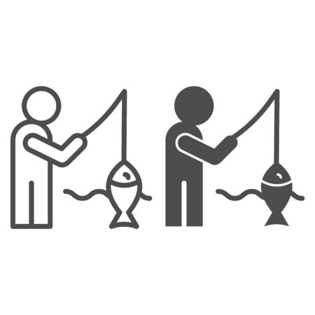 Fisheman and catch line and glyph icon. Fishing on the river vector illustration isolated on white. Man with fish outline style design, designed for web and app. Eps 10.  イラスト・ベクター素材