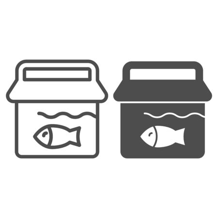 Bucket with fish line and glyph icon. Fishing bucket vector illustration isolated on white. Fisherman catch outline style design, designed for web and app. Eps 10.