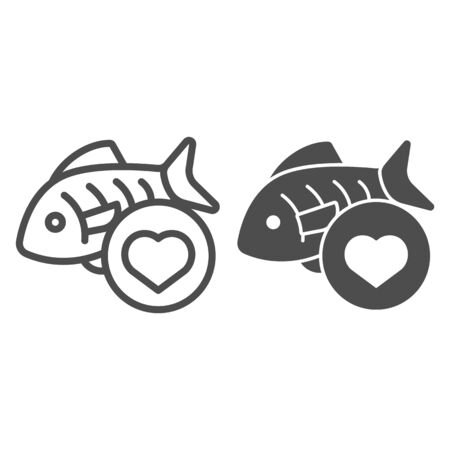 Love fishing line and glyph icon. Fish and heart vector illustration isolated on white. Love seafood outline style design, designed for web and app. Eps 10.