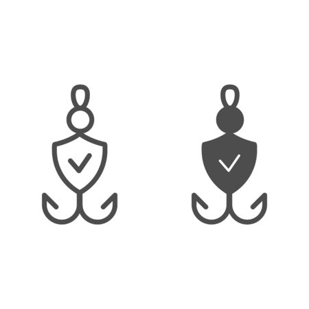 Fishhook line and glyph icon. Bait checked vector illustration isolated on white. Verified fishing tackle outline style design, designed for web and app. Eps 10.