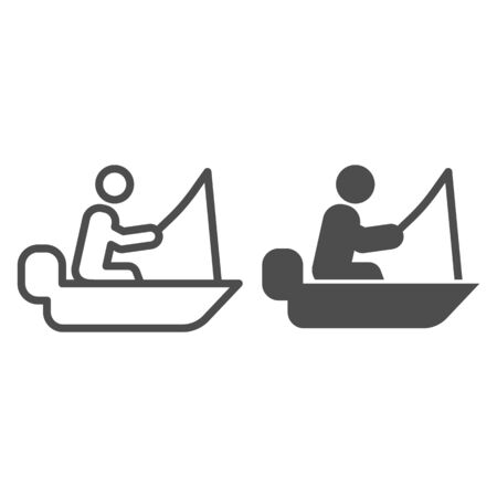 Man cath fish on fishing rod line and glyph icon. Boat with fisherman vector illustration isolated on white. Fisher on vessel outline style design, designed for web and app. Eps 10.