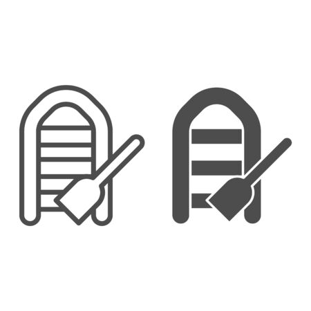 Inflatable boat with oar line and glyph icon. Boat with paddle vector illustration isolated on white. Fisher vessel outline style design, designed for web and app. Eps 10.  イラスト・ベクター素材