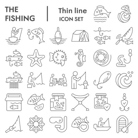 Fishing thin line icon set, fisherman equipment symbols collection, vector sketches, logo illustrations, fishing hobby signs linear pictograms package isolated on white background, eps 10.